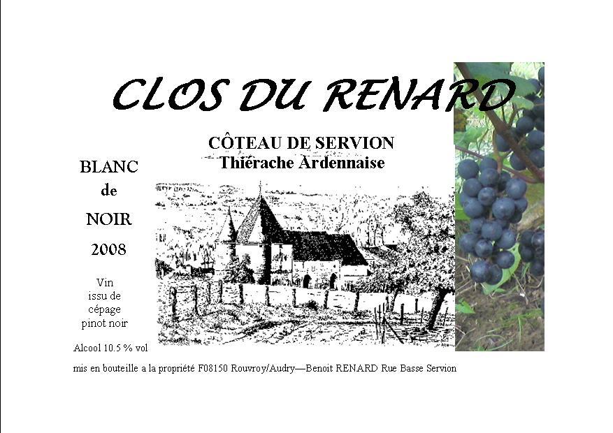 etiquette vin blanc clos du renard 2008